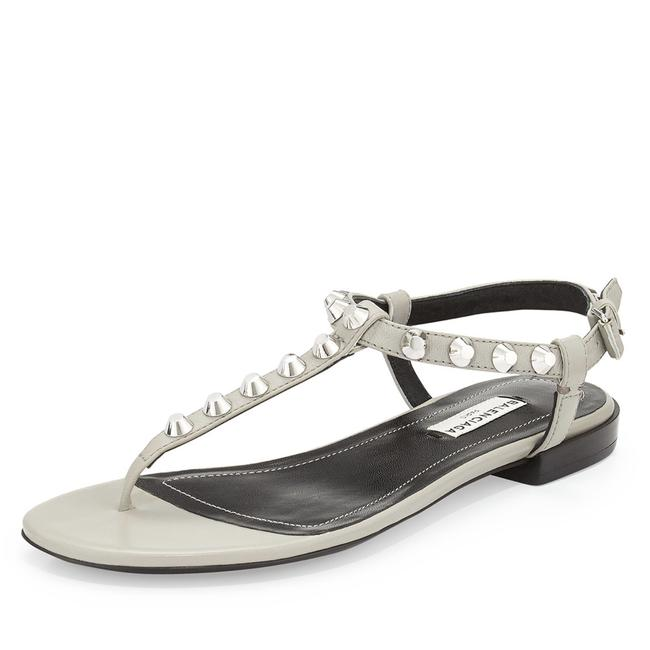 Item - Gray Studded Leather T-strap Sandals Size EU 38 (Approx. US 8) Regular (M, B)