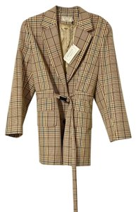 Maison Kitsuné Masculine Jacket Nova Check Trench Trench Coat Plaid Brown Tan Blazer