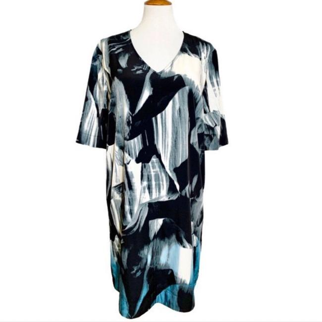 Item - Black White Blue Watercolor Shift Mid-length Work/Office Dress Size 18 (XL, Plus 0x)
