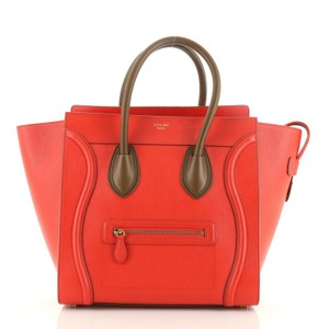 Céline Luggage Leather Red Travel Bag