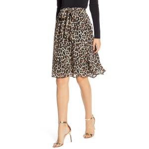 Gibson Animal Print Elastic Stretchy Skirt Multicolor