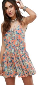 Orange Blue Maxi Dress by Free People Ruffle Straps Floral Tropical Beach Summer