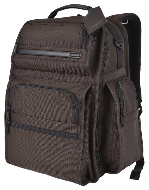 Item - Alpha T Pass Business Class Brief Laptop Travel Brown Nylon Backpack
