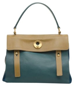 Saint Laurent Suede Leather Satchel in Green