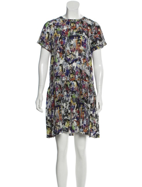 Item - Multicolor New Icon Printed Silk Sleeve Short Cocktail Dress Size 0 (XS)