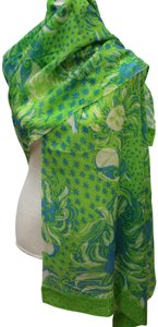 Lilly Pulitzer Cashmere Wool Green Print Scarf Wrap
