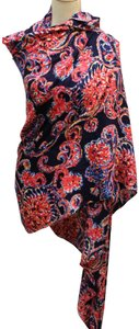 Lilly Pulitzer Rayon Blue Red Large Print Scarf Wrap