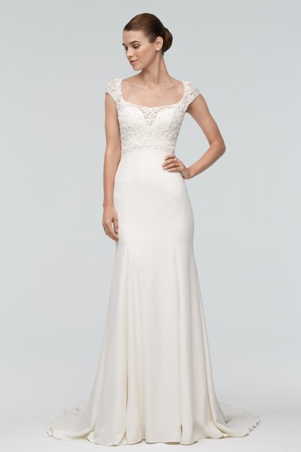 Item - Ivory Silk Sheath Feminine Wedding Dress Size 2 (XS)