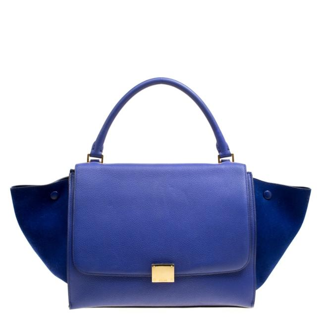 Item - Trapeze Medium Blue Leather and Suede Clutch