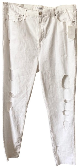 Item - White Distressed Legs Stretch Skinny Jeans Size 24 (Plus 2x)