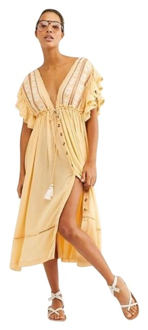 Item - Yellow Bali Will Wait For You Midi Flutter Sleeve Embroidered Midi Mid-length Short Casual Dress Size 6 (S)