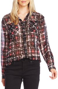 Vince Camuto Striped Sheer Floral Chiffon Longsleeve Button Down Shirt Multicolor