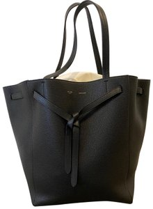 Céline Leather Shopping Cabas Tote in Black