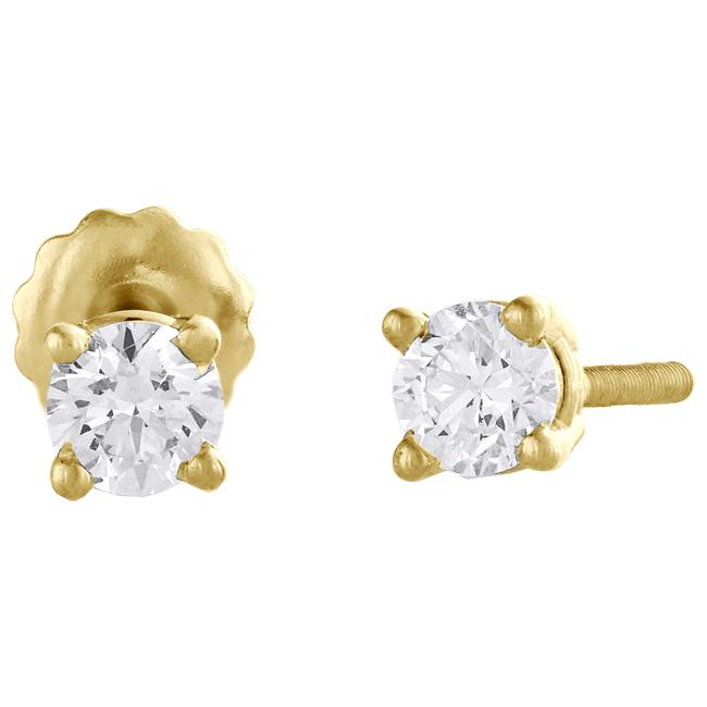 Jewelry For Less Yellow Gold 14k Round Cut Diamond Solitaire Studs 1/2 Ct. Earrings Jewelry For Less Yellow Gold 14k Round Cut Diamond Solitaire Studs 1/2 Ct. Earrings Image 1