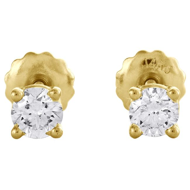 Jewelry For Less Yellow Gold 14k Round Cut Diamond Solitaire Studs 1/2 Ct. Earrings Jewelry For Less Yellow Gold 14k Round Cut Diamond Solitaire Studs 1/2 Ct. Earrings Image 2