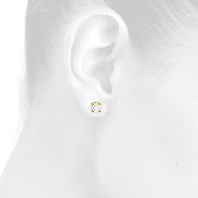 Jewelry For Less Yellow Gold 14k Round Cut Diamond Solitaire Studs 1/2 Ct. Earrings Jewelry For Less Yellow Gold 14k Round Cut Diamond Solitaire Studs 1/2 Ct. Earrings Image 5