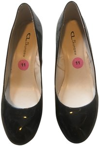 CL by Chinese Laundry Wedge Leather Comfortable Black Patent Pumps