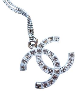 Chanel Brushed Silver B11 CC Princess Baguette Cut Crystal Necklace