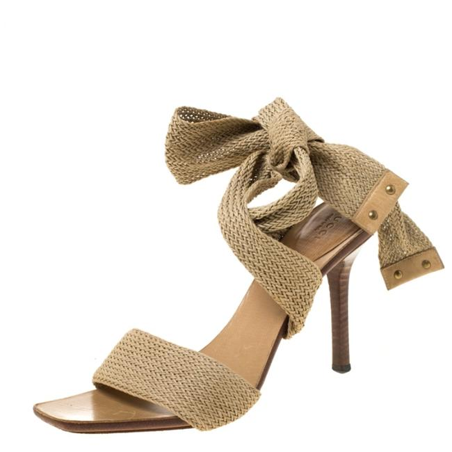 Item - Beige Knit Ankle Wrap Sandals Size EU 40 (Approx. US 10) Wide (C, D)