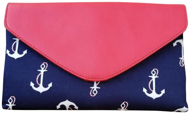 Item - Nautical Anchor Red and Navy Leather Cotton Shoulder Bag