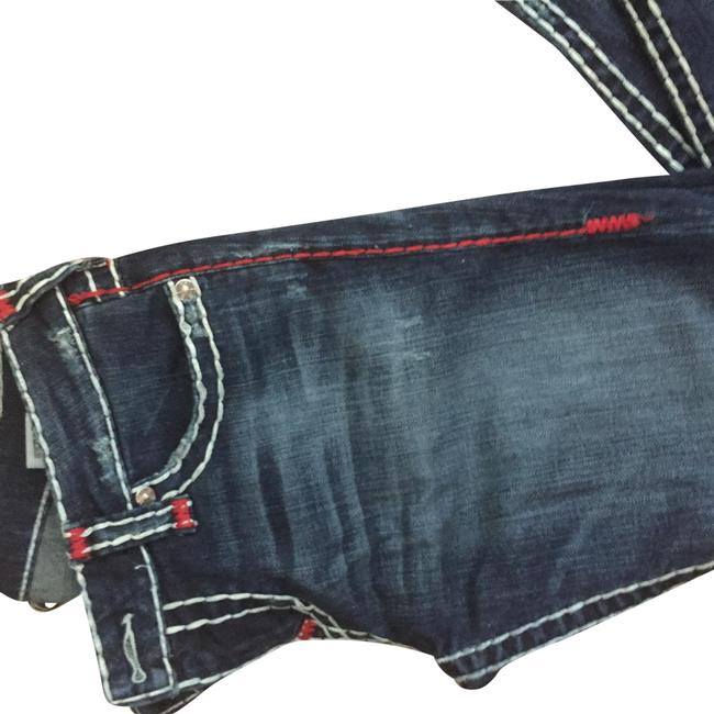 Item - Blue with Red Stitching Medium Wash Distressed Straight Leg Jeans Size 10 (M, 31)