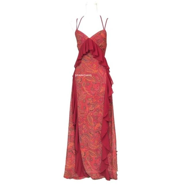 Item - Red XS Ruffle Paisley Halter Long Casual Maxi Dress Size 2 (XS)