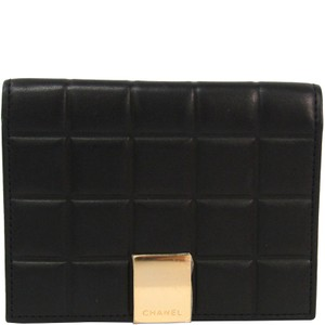 Chanel Chanel Black Bar Quilted Leather Card Holder Cover