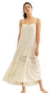 NWOT Ivory White Maxi Dress by Free People Tiered Semi-sheer Rayon Button Up Front Eyelet Detail