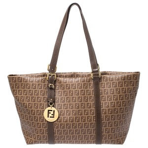 Fendi Leather Canvas Tote in Brown