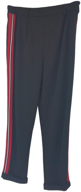 Item - Black Red White Long Ankle Knit Foldova Joggers Activewear Bottoms Size 8 (M, 29, 30)