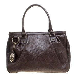 Gucci Leather Canvas Tote in Brown