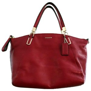 Coach Kelsey Pebbled Leather Pink Crossbody Satchel in red