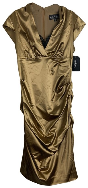 Item - Gold Stretch Satin Ruched Mid-length Formal Dress Size 12 (L)