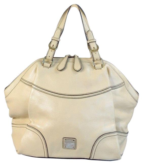 Item - Pebbled Silver Studded Logo Motifs Pale Yellow Leather Satchel