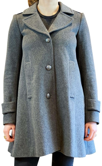 Item - Gray Notch-lapel Wool Coat Size 0 (XS)