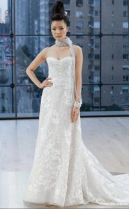 Ines Di Santo Ivory/ Cameo Pink Embroidered Tulle Bryant Feminine Wedding Dress Size 8 (M)