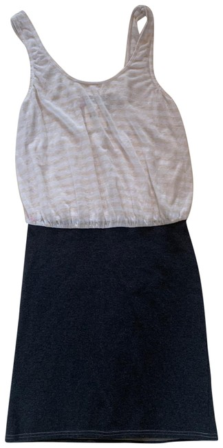 Item - Charcoal and White Striped Small Short Casual Dress Size 4 (S)