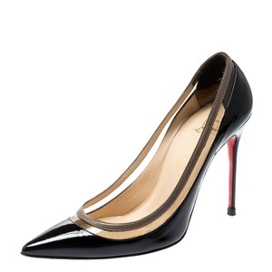 Christian Louboutin Patent Leather Pvc Pointed Toe Black Pumps