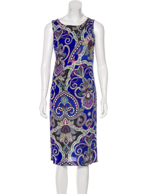 Item - Multicolor Cobalt Printed Sleeveless Knee Length Mid-length Cocktail Dress Size 2 (XS)