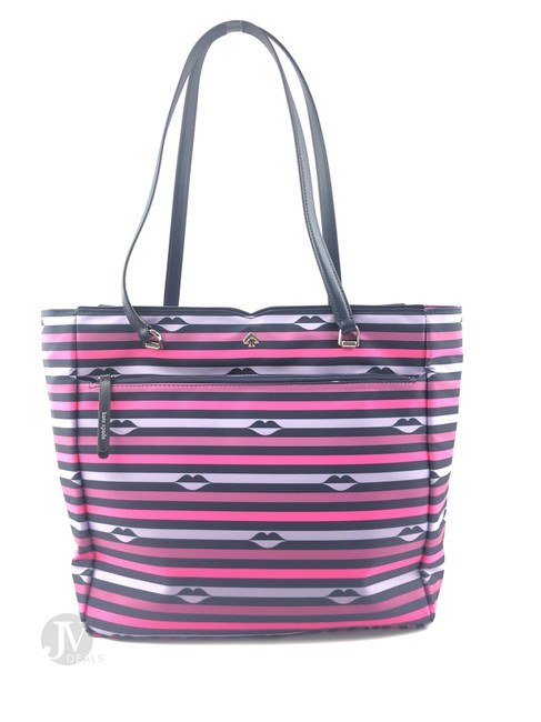 Item - (Wkru6503) Jae Lip Print Large Handbag Purse Pink Nylon Tote