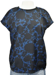 Marc by Marc Jacobs Floral Short Sleeve Top Black & Blue