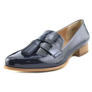 Tahari Penny Loafer Patent Leather Loafer Dress Navy Blue Flats
