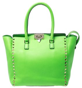 Valentino Fabric Leather Tote in Green