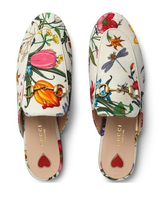 Item - White Princetown Floral Canvas Loafer Slide Mule Slip On Slipper Flats Size EU 37.5 (Approx. US 7.5) Regular (M, B)