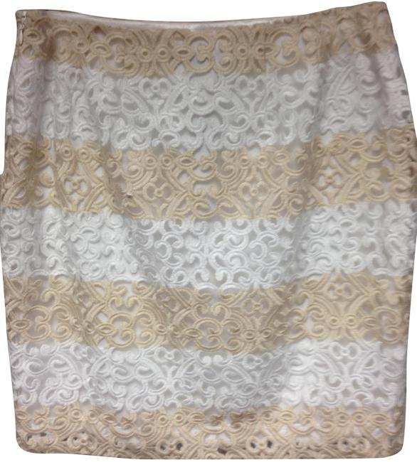 Item - and Tan Stripped Lace Pencil Skirt Size 8 (M, 29, 30)