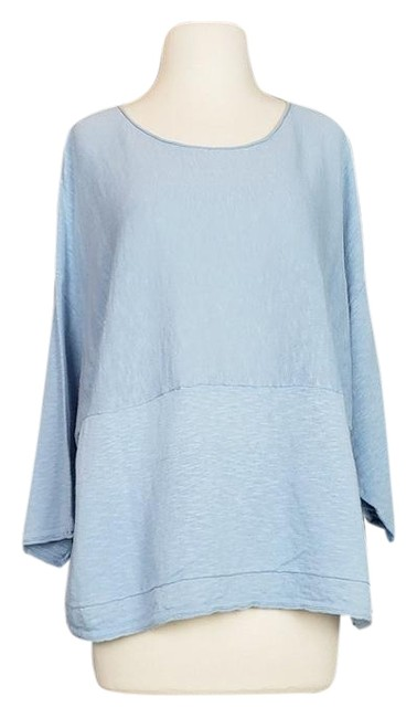 Item - Pure Light Cotton Linen Boxy Fit Blue Sweater