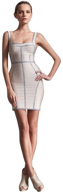 Item - Ivory Space-dyed Trim Square Neck Bodycon Bandage In Corozo Combo Style Hsq6l340 Short Cocktail Dress Size 2 (XS)