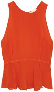 Amour Vert Sleeveless Silk Peplum Cut-out Top Orange