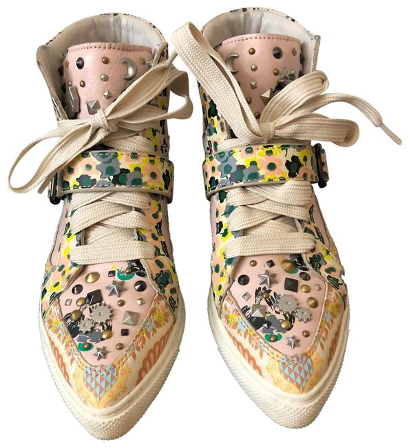 Item - Pale Pink Printed Studded High Top Sneakers Size US 8 Regular (M, B)