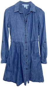 Draper James short dress Blue Chambray Denim Longsleeve on Tradesy